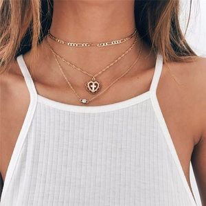 Cross Heart Pendant Choker Necklace